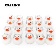 20pcs hot 2019 bathroom water toys floating rubber ducks white Little angel style duck cute bath for baby children