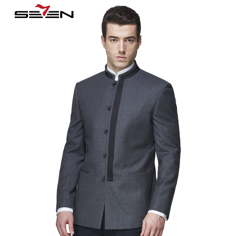 Seven7 Brand Men Suit Jacket Slim Fit Mandarin Collar Casual Business Formal Blazer Chinese Coat Male