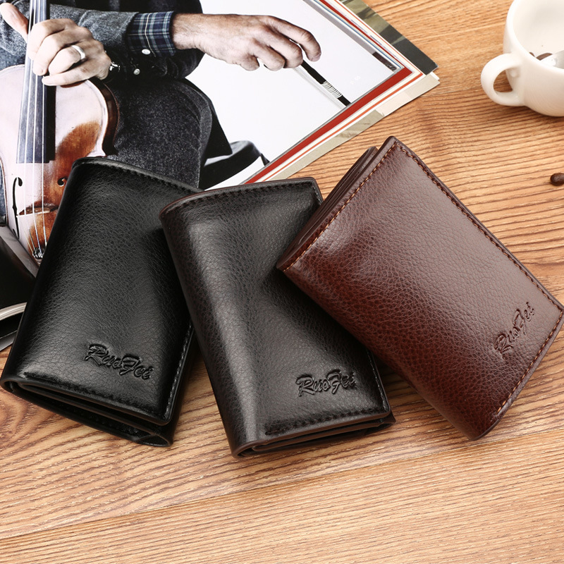 Casual Men Wallets Trifold Wallet ID Card Holder Coin Purse Pockets Clutch Hasp Coin Bag Photo Holder Male Wallet casual weaving design card holder handbag hasp wallet for women