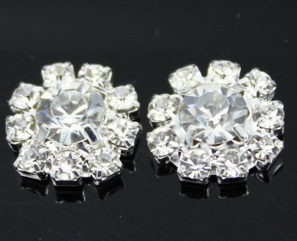 10pcs Silver Rhinestone Buttons Flatback Wedding Invitation Embellishment