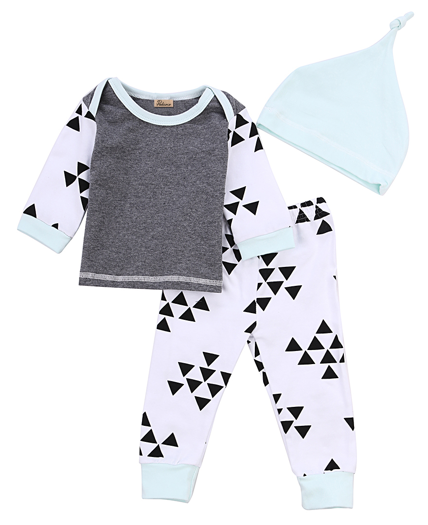Infant Baby Girls Boys Kids Autumn Winter Clothes Cotton Long Sleeve Triangle T-Shirt Tops+Long Pants Hat 3pcs Outfits Set Gray soft solid kids boys t shirt candy color long sleeve baby girls t shirts cotton children s t shirt o neck tee tops boy clothes