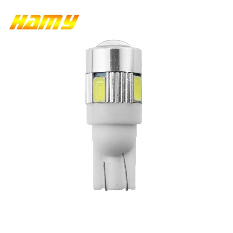 1x T10 W5W 5W5 12V Interior Luz lâmpada LED para carro LED Ligue Matrícula Signal Wedge Side Lâmpadas 194 168 5630 6SMD Branco Amarelo