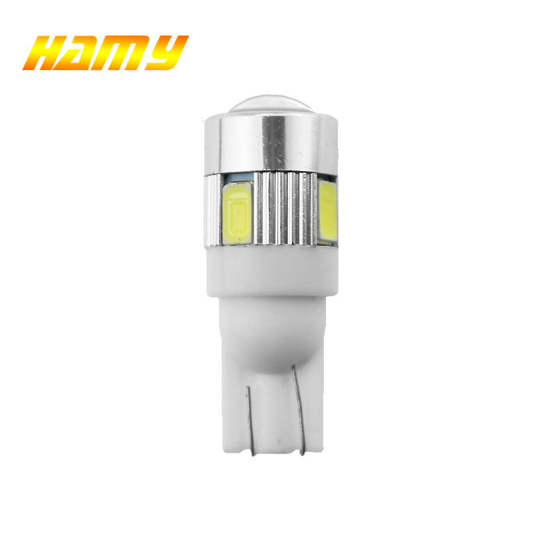 1x T10 W5W LED Lamp For Car 12V Interior Light 5W5 LED Turn Signal License Plate Wedge Side Bulbs 194 168 5630 6SMD White Yellow