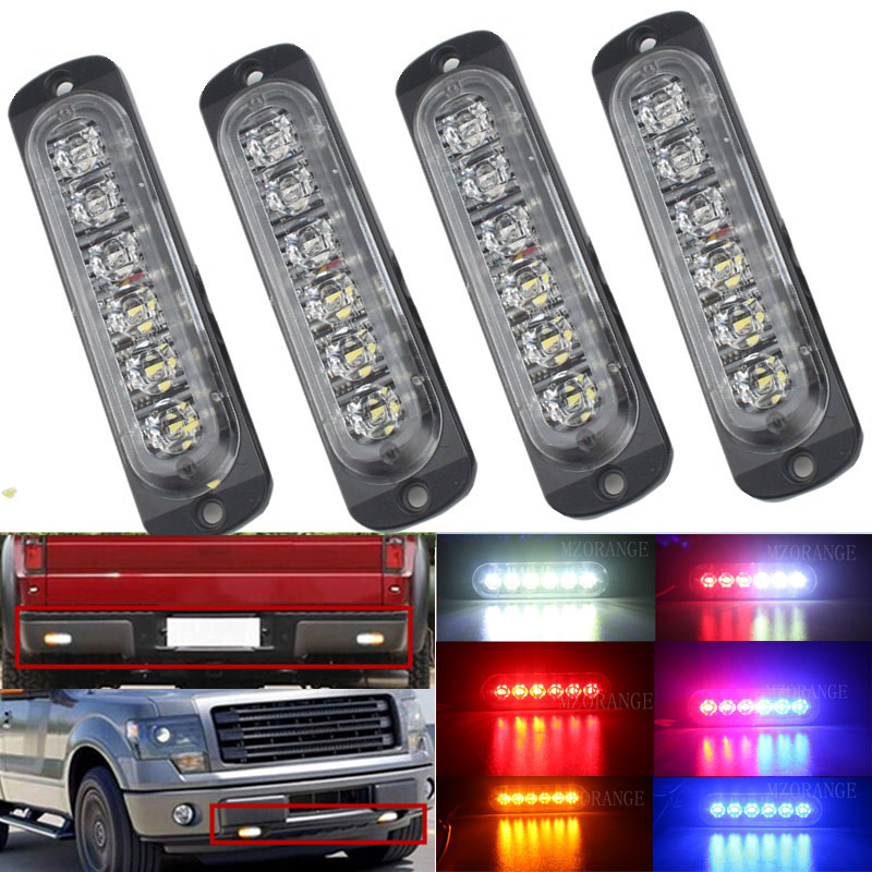 4x6 12 LED Super Bright 12V-24V Led Strobe Emergency Warning Light Police Flashing Lightbar Grille Truck Beacon LED Side Lights