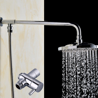 Free Shipping 8 inch Round Rainfall Shower Head And Shower Arm Shower System with T adapter Shower Set