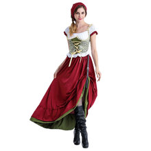 M/XL 2-piece Long German Oktoberfest Maid Beer Girl Costume Wench Gretchen Costumes Fantasia Cosplay Dress Clothing for Women