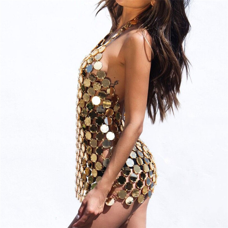 Bling Acrylic Sequin Backless Mini Dress Women 2019 Sexy Deep V Neck Beach Nightclub Party Club Hollow Out Dresses Silver Gold