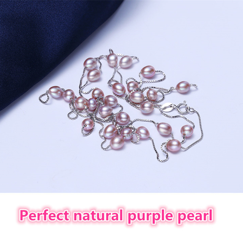 Echte 925 Sterling Silber Halskette Perfekte natürliche Perle Choker - Modeschmuck - Foto 2