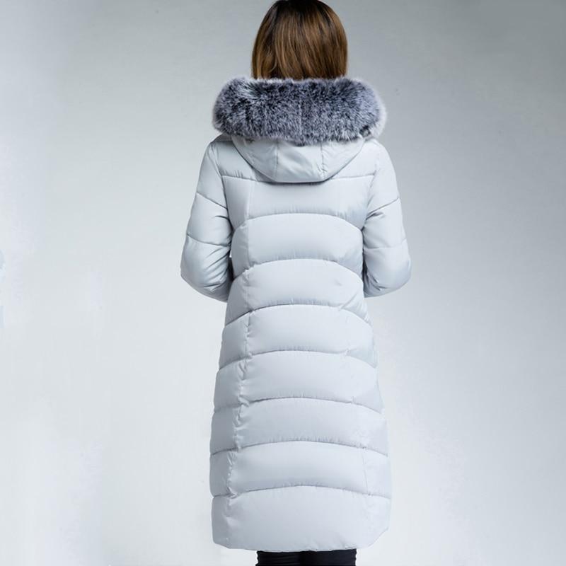 Long Women Winter Jacket 2018 Warm Thicken With Fur Hooded Winter Jacket Women Female Cotton Padded Parkas Outwear Coat