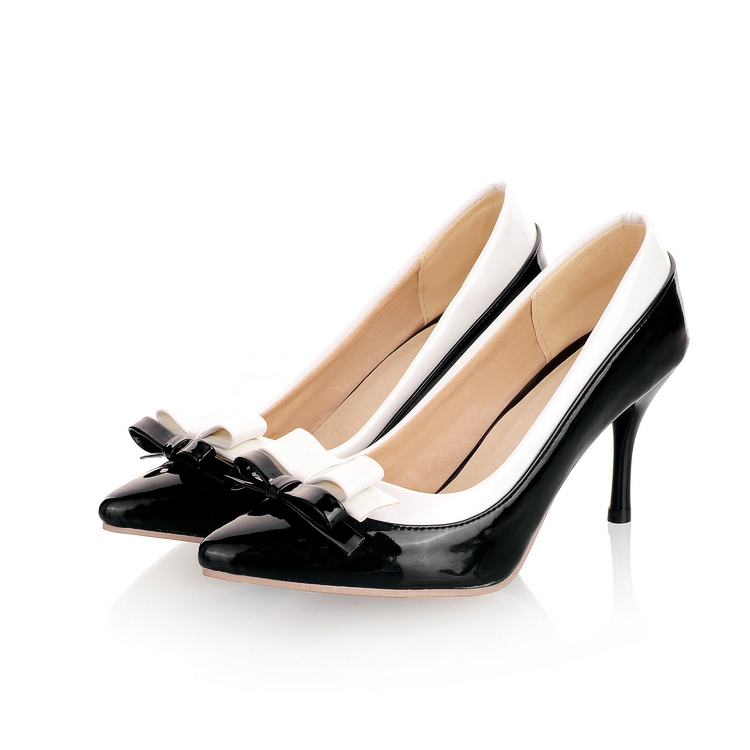Pointed Toe Match Colors Bowknot Thin High Heels Women Shoes Patent Leather Woman Pumps 2017 New Arrival Fashion Sexy Lady Shoes bowknot pointed toe women pumps flock leather woman thin high heels wedding shoes 2017 new fashion shoes plus size 41 42