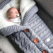 Теплый детский спальный мешок, пуговицы для новорожденных, Трикотажный Хлопковый вязаный конверт, пеленка для новорожденных, аксессуар для коляски