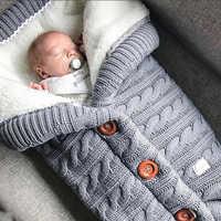 Bebê quente saco de dormir footmuff infantil botão malha swaddle algodão tricô envelope recém-nascido swadding envoltório carrinho de criança acessório