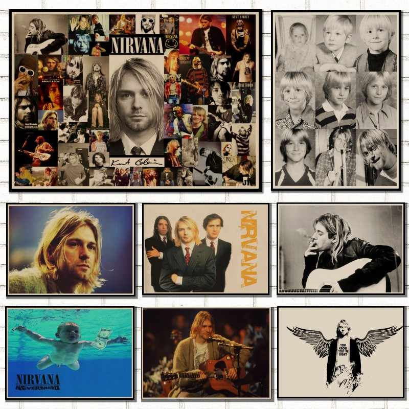 Vintage music Posters Kurt Cobain/Nirvana frontman / rock vintage poster / retro kraft posters bar decorative painting/5065