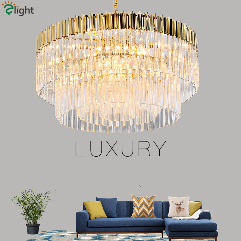 Hotel Hall Luxury K9 Crystal Led Pendant Lights Round Plate Shiny Gold Steel Lustre Pendant Lamp Living Room Deco Lamparas
