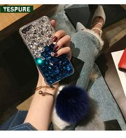 YESPURE Luxury Crystal Rhinestone Back Cover For Iphone 6 6S With Rabbit Fur Ball Pom Pom