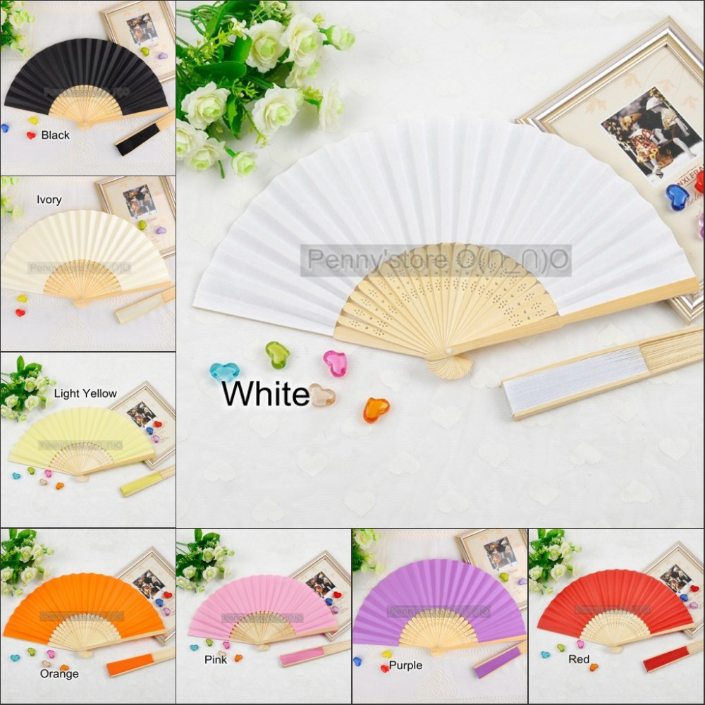 30 Pieces Ladies Bamboo & Raw Silk Fan Hollow Out Hand Folding Fans ...