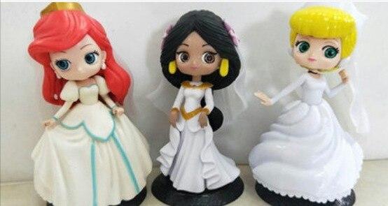 14 см русалка Жасмин свадебное платье принцессы модель PVC Фигурки Q posket Золушка фигурки коллекционные куклы для детей игрушки