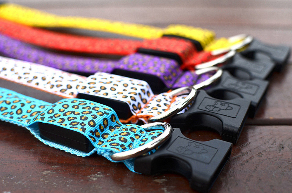 Dog Collar Reflective Safety Lights Collars For Dogs Pet Leopard Adjustable S~XL Nylon Plastic Battery Glow Light Buckle F15