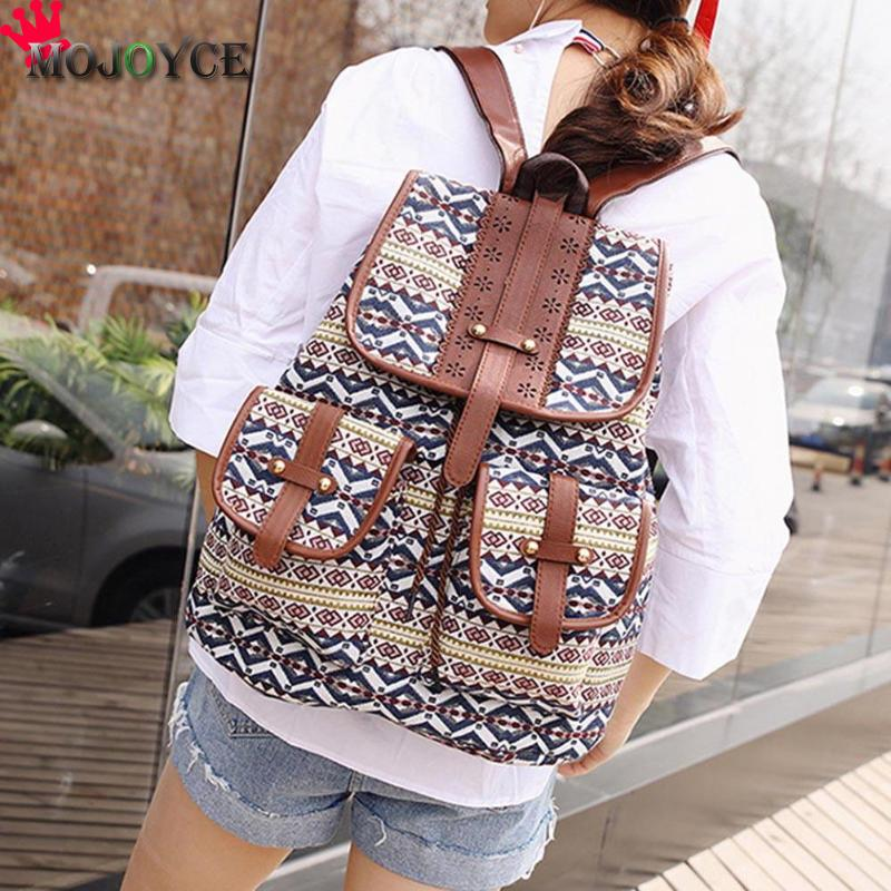 Bohemian Mini Backpack Vintage Printed Canvas For Women Bagpack Travel Drawstring School Bags For Teenager Girls Sac A Dos