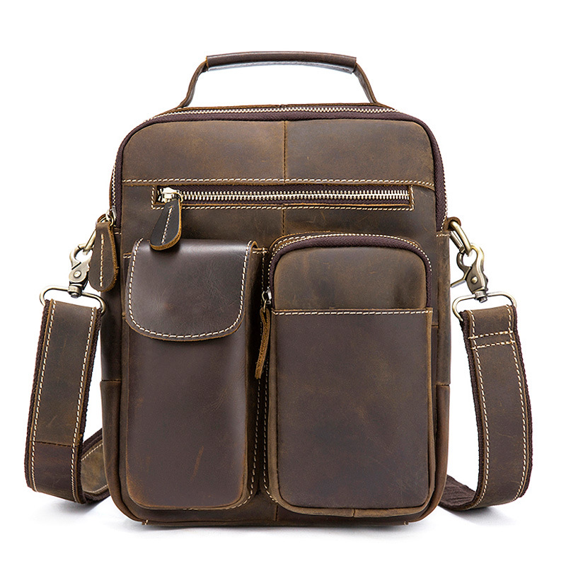Soft face solid color wear Cow Leather men bags retro three-dimensional design crazy horse leather mens shoulder Messenger bagSoft face solid color wear Cow Leather men bags retro three-dimensional design crazy horse leather mens shoulder Messenger bag