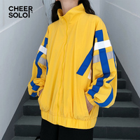 Cheersolo Track Jacket Women Autumn Oversized Coats And Jackets Streetwear Patchwork Yellow Jacket Loose Ribbons Windbreaker
