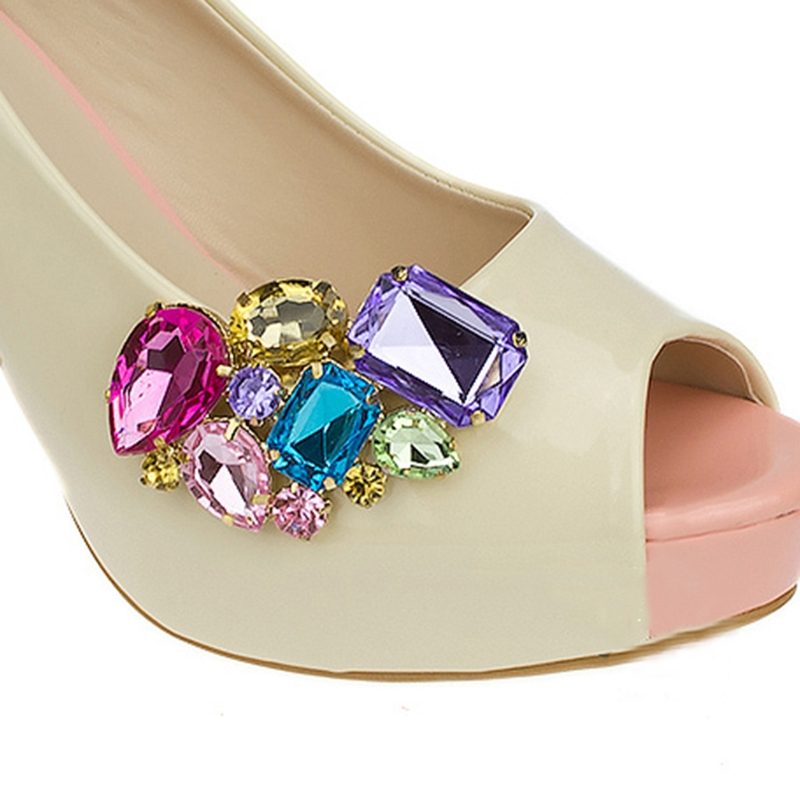 1 Pair Women Shoe Decorations Clips Shoe Buckle Crystal Decorations Clips Shoe Charms Accessories New Fashion
