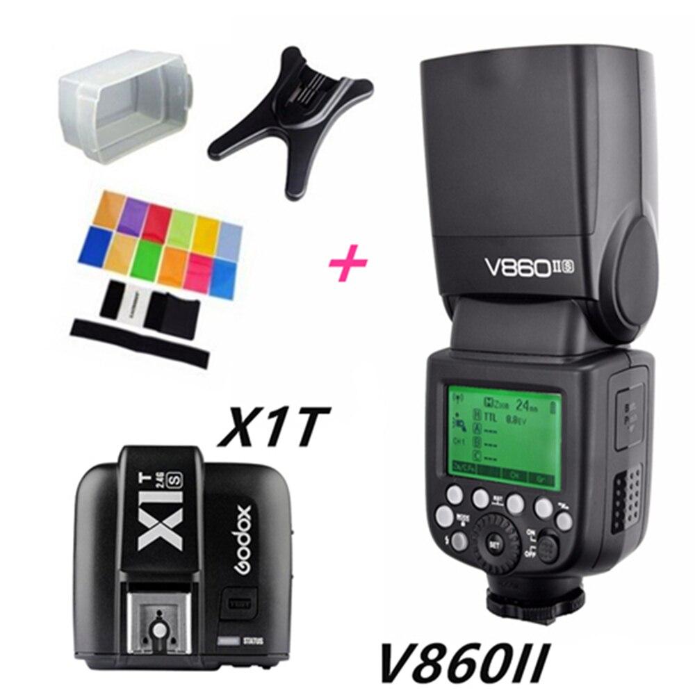 Godox v860ii gn60 ttl hss 1/8000 s speedlite flash con batteria li-ion + X1T-C/N/S trasmettitore flash for canon nikon sony DSLR godox v860ii n v860iin gn60 i ttl hss 1 8000s speedlite flash w li ion battery x1t n flash transmitter optional for nikon