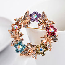 Gold-plated  brooch color rhinestone brooches accessories high quality gift to women