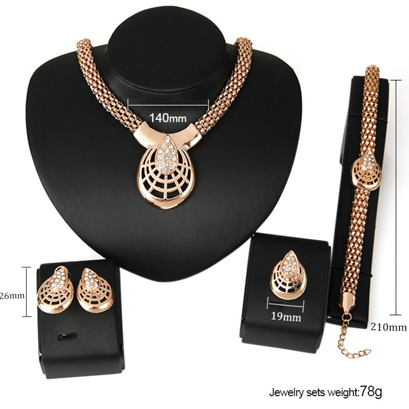 Sangdo Fashion Trendy Punk Jewelry Set, Alloy Zircon Four-piece of Necklace Ear Studs Bracelet Ring for Women