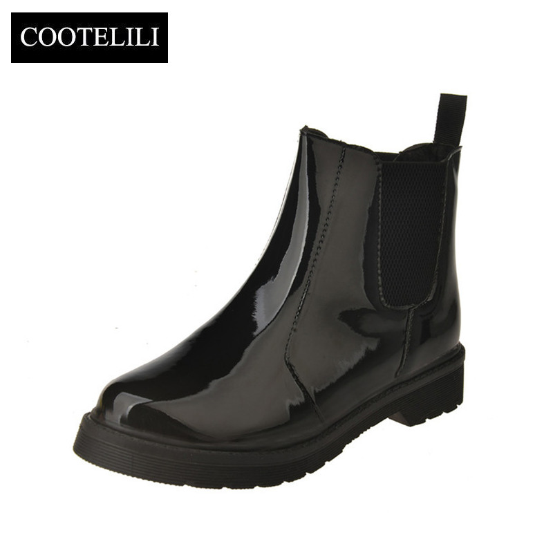 COOTELILI Boots Flat-Heels Black Women Patent Casual-Shoes Motorcycle Girls Plus-Size