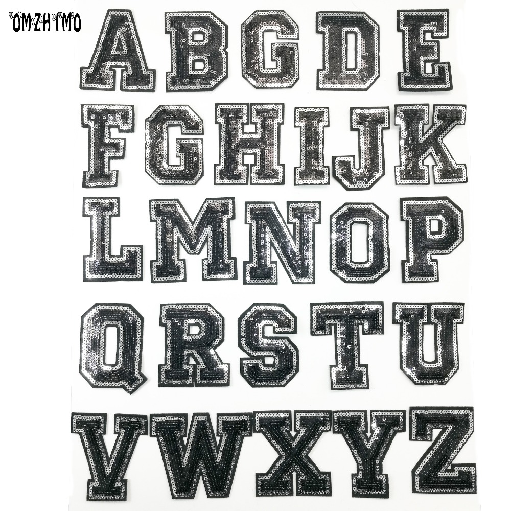 """WHITE English Alphabets Letters Characters 3/"""" A-to Z Embroidered iron-on Patch"""