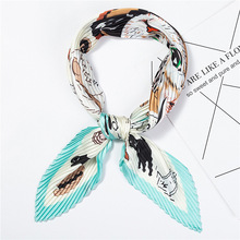 2019 New Womens Small Silk Square Scarf Crinkle Hair Scarfs for Ladies Pleated Scarves Printed Female Bandana Foulard 100*30CM