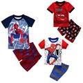 Ropa del Bebé Fijó 2016 Hot Spider-man Coches Camiseta Pantalones Cortos de Verano de Ropa Trajes 1-7Y