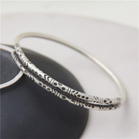 JINSE Authentic S925 Sterling Silver Bangles Cuff Carved Fashion Jewelry for Women Made in Thailand 6.50mm 22.60G WTB051