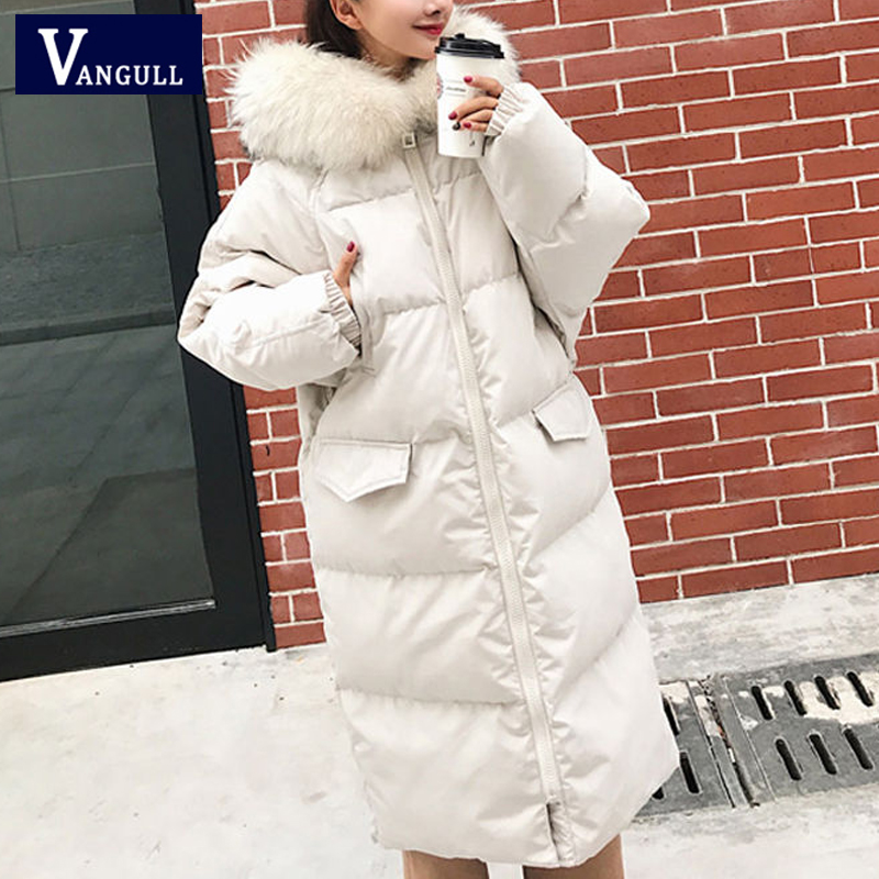Vangull Hooded Women   Parkas   Winter Warm Solid Long Loose Coats 2019 Autumn Long Sleeve Zipper Thick Female Outerwear Fur Collar