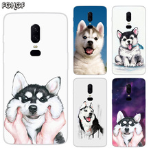 Cute Husky Luxury Soft TPU Silicone Phone Back Case For OnePlus 5 5T 6T 6 Frosted Fundas Printed Cover
