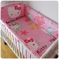 Promotion! 6PCS Hello Kitty Baby Girl Bedding Set cotton denim ruffle baby bedding set (bumpers+sheet+pillow cover)