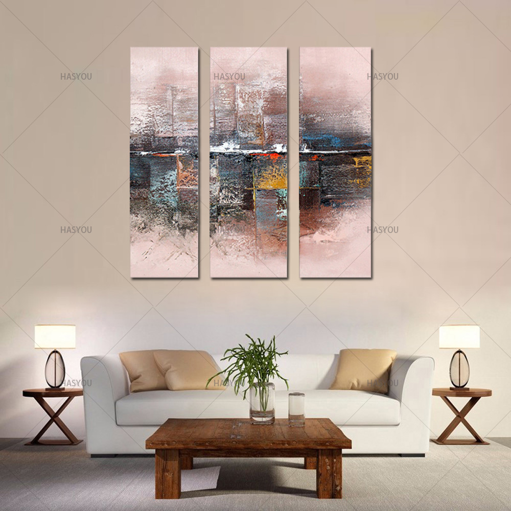 3 piece large canvas wall art acrylic knife modern oil painting on canvas modern abstract oil paintings for living room wall art-in Painting & Calligraphy from Home & Garden    1
