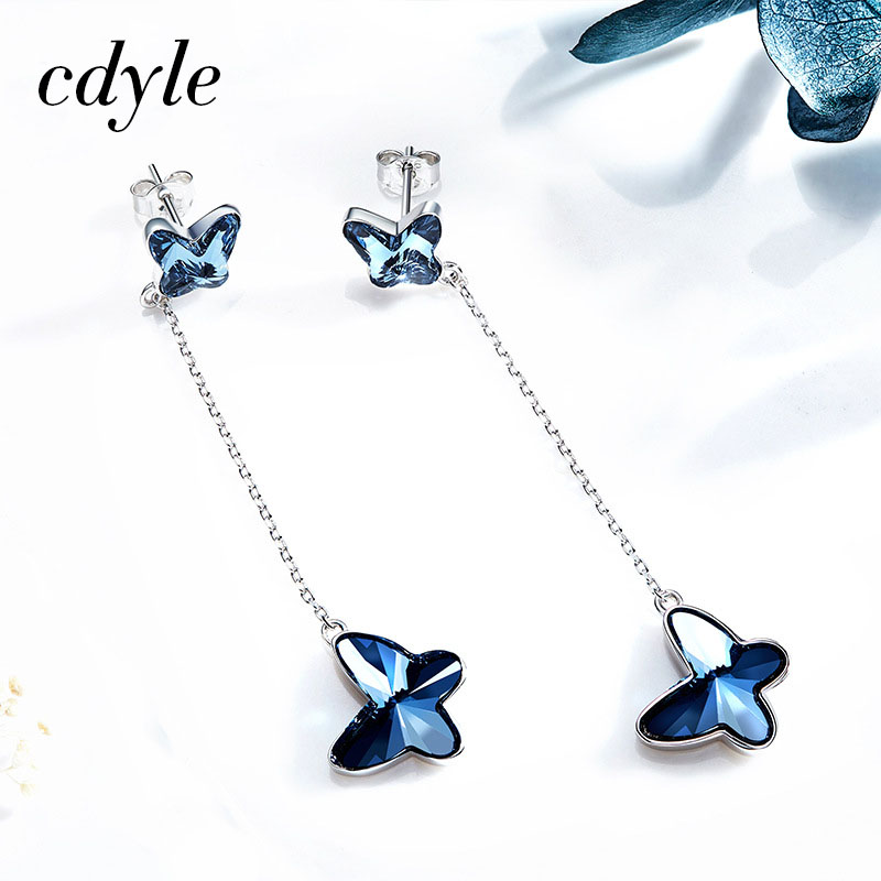 Cdyle Crystals from Swarovski S925 Sterling Silver Jewelry Dangle Earrings Women Earring Butterfly Shape Austrian Rhinestone New floral shape rhinestone earrings