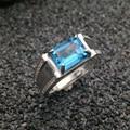 Luxuoso anel de topázio de prata 7*9mm emerald cut luz azul natural topaz stamped 925 sterling silver man anel presente de natal