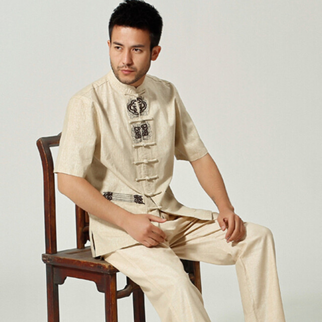 Novo Estilo Homens Verão Lazer Camisa de Alta Qualidade do Algodão De Linho Chinês Kung fu tai chi m061303 camisas plus size m l xl xxl xxxl