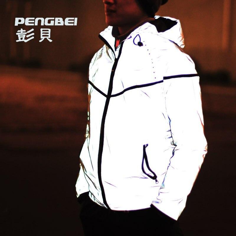 2018 casual hip-hop brand winter plus size 4xl waterproof 3m reflective jacket m