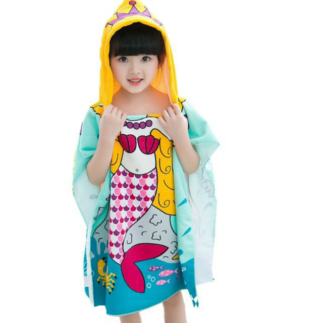 Baby Bath Towel Children Cotton Bathrobes Cartoon Mermaid Swim Robes Boys  And Girls Hooded Cute Beach 07b68fbcf