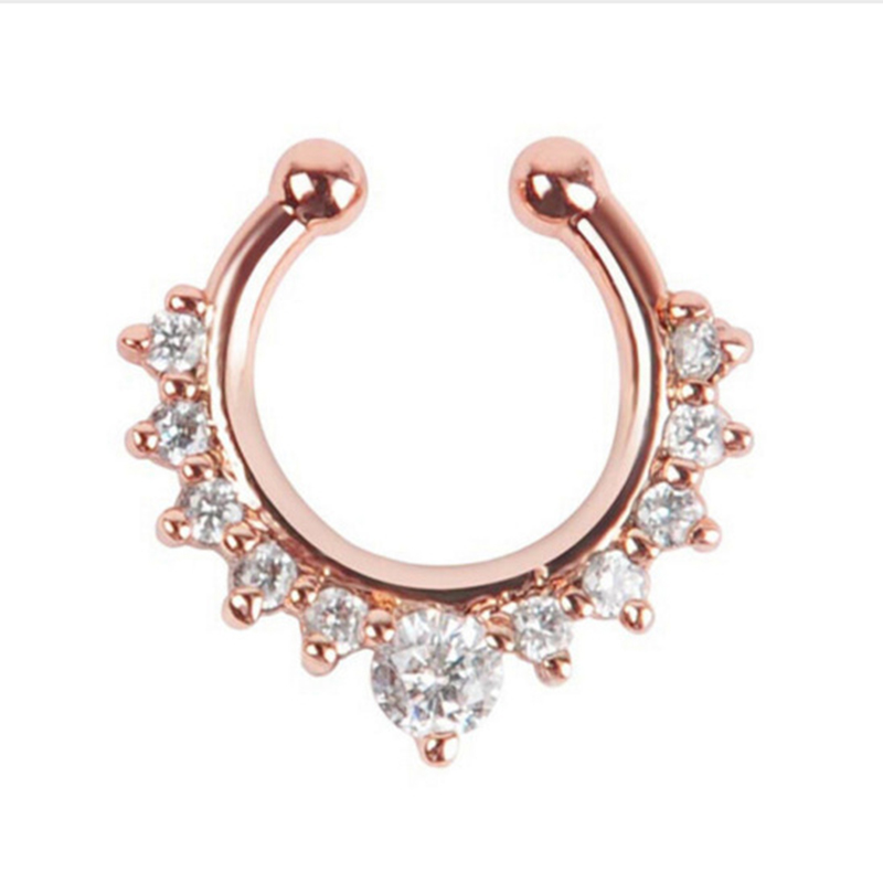 Qevila Crystal Fashion Clicker Fake Septum for Women Body Clip Hoop Vintage Fake Nose Ring Faux Piercing Body Jewelry Wholesale (7)