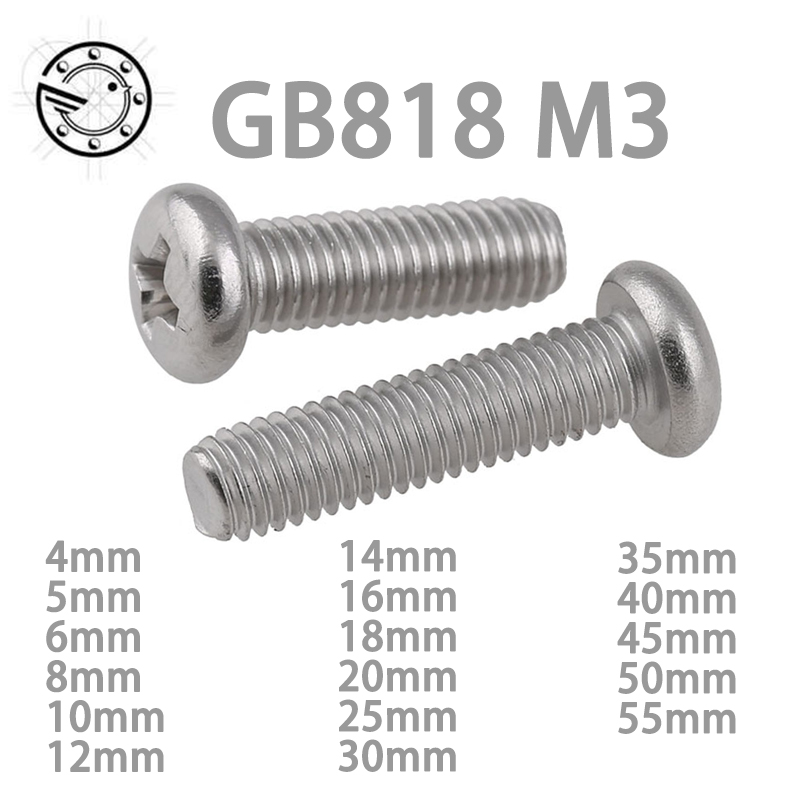 100pcs GB818 M3 304 Stainless Steel Phillips Cross recessed pan head Screw M3*(4/5/6/8/10/12/14/16/18/20/25/30/35/40/45/50/55) 100pcs lot m3 truss head self tapping screw steel with black m3 6 8 10 12 16 20 25 30