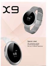 สแตนเลสนาฬิกาบลูทูธX9สมาร์ทนาฬิกาH Eart Rate Monitorข้อความC Allเตือนสาย