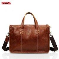 BJYL Men's briefcase casual business first layer cowhide handbag male retro Messenger bag leather male shoulder bag