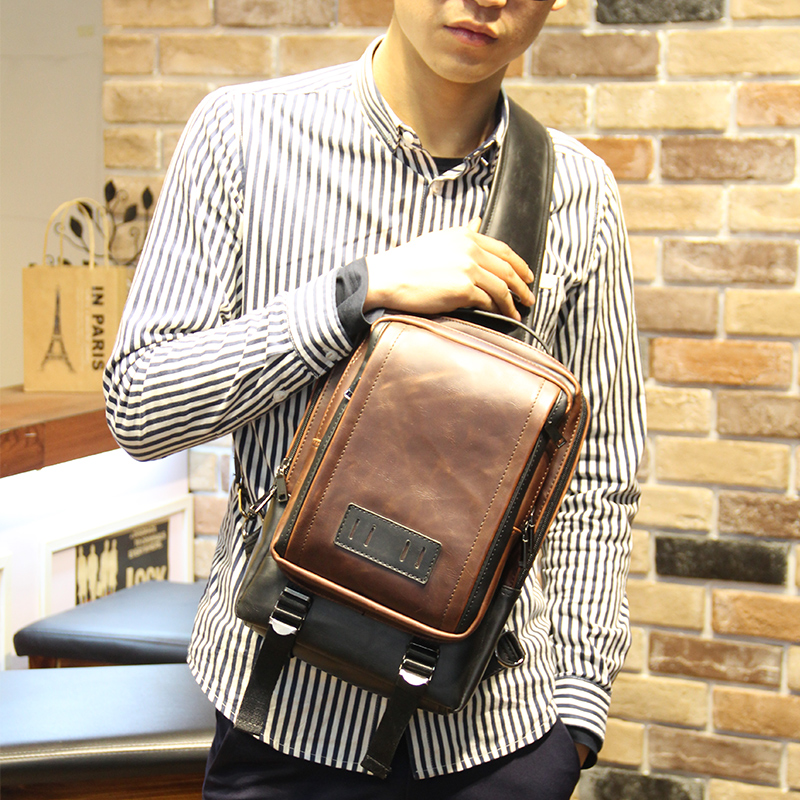 New Design Men's Backpack  Single Shoulder Travel Rucksack Cross Body Chest Bag Travel Leisure Bag Vintage Europe Style