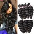3 Bundles Peruvian Loose Wave Virgin Hair 8A Peruvian Virgin Hair Loose Wave Virgin Peruvian Human Hair Weave Natural Black