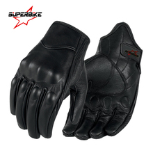 Guantes De cuero para Motocicleta para hombre, protector De manos De piel auténtica para ciclismo, guante para Motocicleta, carreras, pantalla táctil